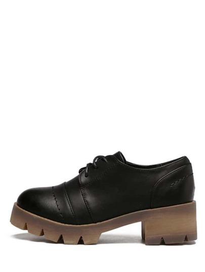 Schuhe Schnürband Gummi Sohle - schwarz