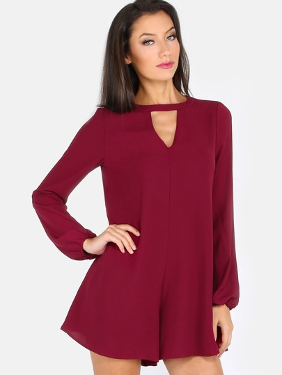 Choker Cut Out Flare Romper WINE