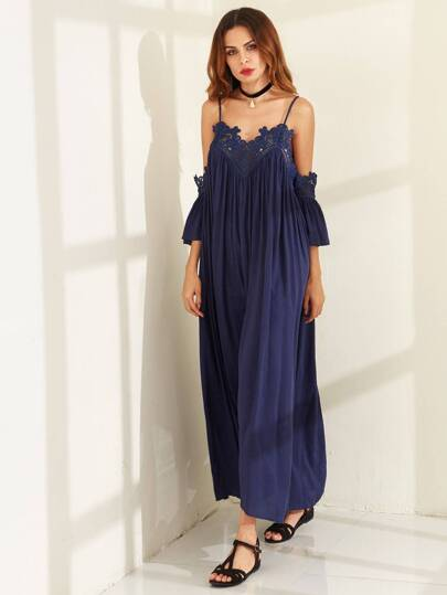 Cold Shoulder Pleated Lace Trim Maxi Dress