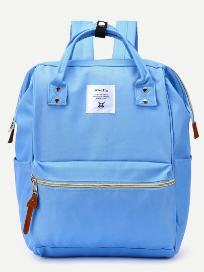 Blue Zip Closure Canvas Backpack