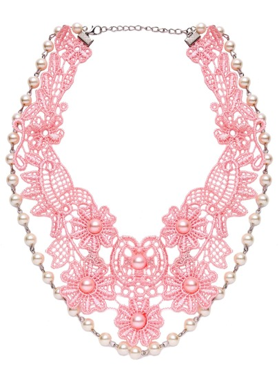 Collana Statement Abbellita Fiore Pizzo Perline False - Rosa