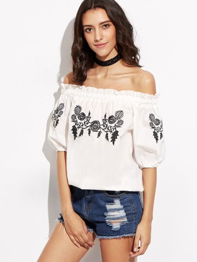 White Flower Embroidery Off The Shoulder Top
