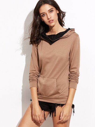 Brown Pocket Hooded Sweatshirt