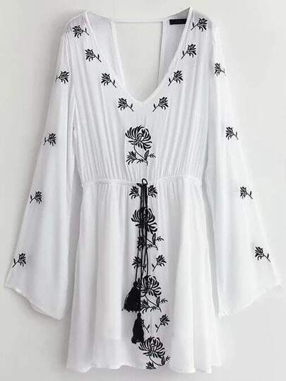 White Embroidery Cut Out Back Fringe Drawstring Dress
