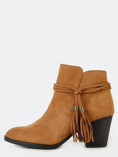Faux Suede Tassel Low Cut Boots NATURAL