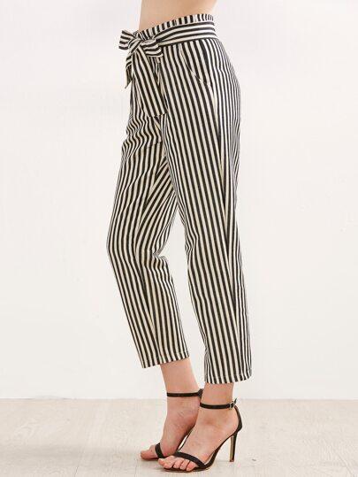 Contrast Vertical Striped Self Tie Pants