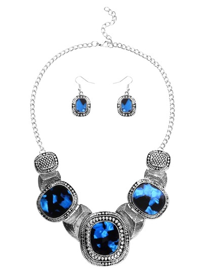 Faux Gem Inlay Etched Plate Statement Necklace Set 2PCS