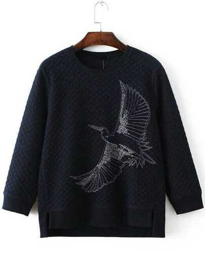 Navy Eagle Embroidery Dip Hem Quilted Sweatshirt