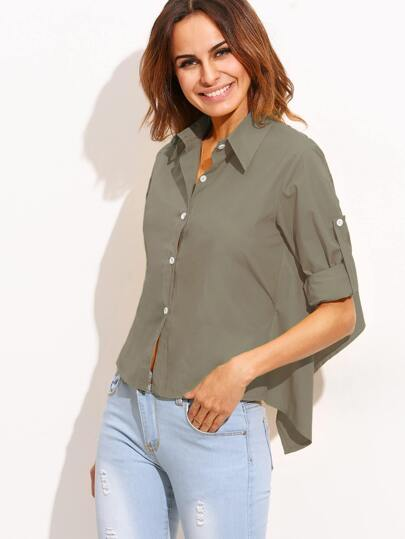 Olive Green Roll Tab Sleeve Tie Back High Low Blouse