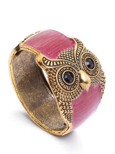 Red Metal Retro Owl Cuff Bracelet