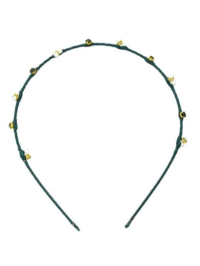 Green Cute Pearl And Rhinestone Thin Hair Band