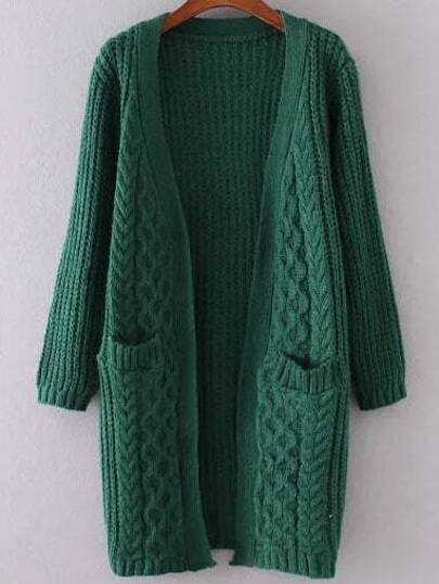 Dark Green Collarless Cable Knit Pocket Sweater Coat