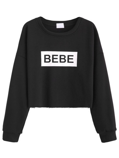 Black Letter Print Drop Shoulder Crop Sweatshirt