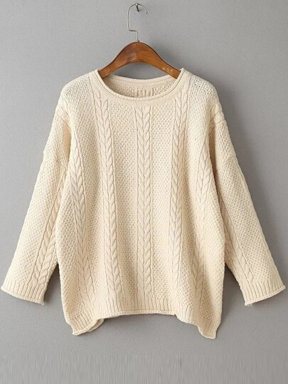 Beige Drop Shoulder Side Slit Cable Knit Sweater