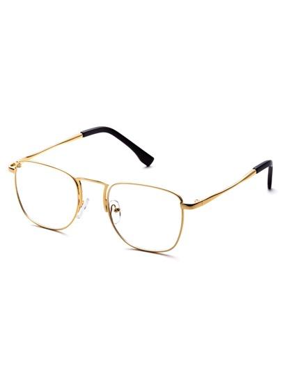 Gold Metal Frame Clear Lens Glasses