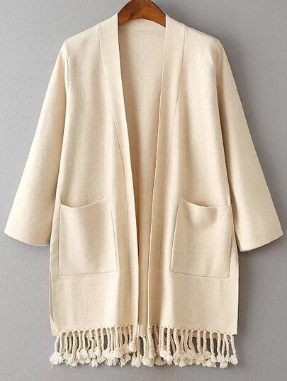 Beige Side Slit Fringe Hem Pocket Cardigan
