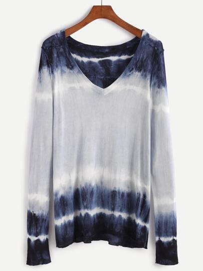 Multicolor Deep V Neck Tie Dye Sweater