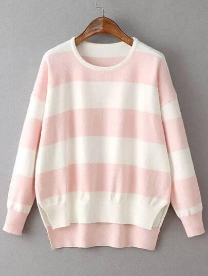 Pink Contrast Striped Split Side Dip Hem Knitwear