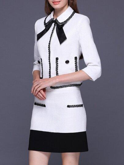 White Tie Neck Elegant Top With Skirt