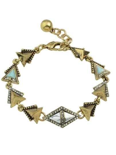 Vintage Rhinestone Geometric Charms Chain Link Bracelet