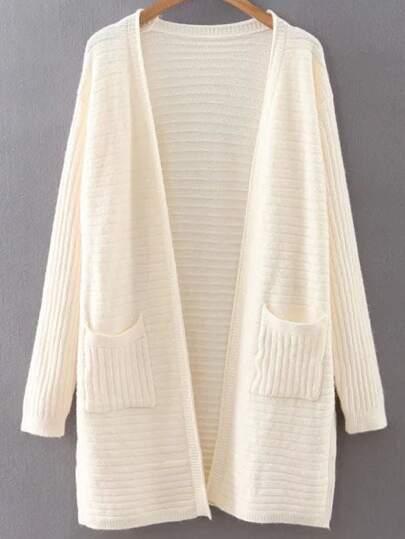 Beige Collarless Ribbed Split Side Pocket Long Cardigan
