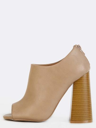 Flared Block Heel Peep Toe Boots TAUPE