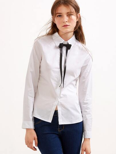 White Contrast Faux Leather Bow Tie Neck Shirt