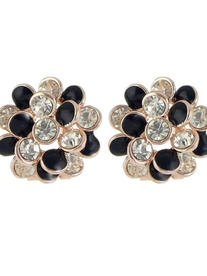 Black New Rhinestone Enamel Flower Stud Earrings For Women