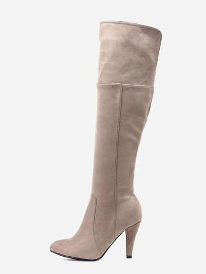 Brown Faux Suede Point Toe Knee High Boots