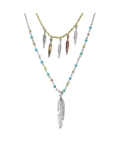 Leaf Shape Double Layers Beads Necklace