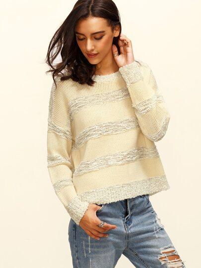 Apricot Stripe Round Neck Long Sleeve Sweater