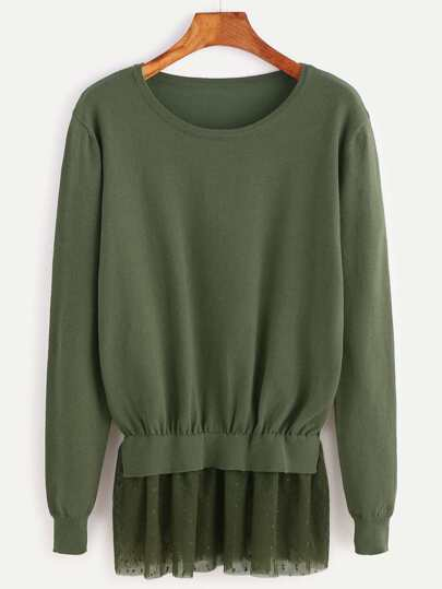 Olive Green Dot Mesh Trim Pullover Sweater