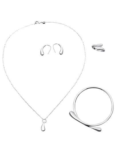 High Polish Silver Waterdrop Jewelry Set
