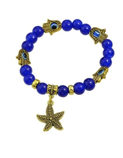 Blue Beads Starfish Charm Elastic Bracelet