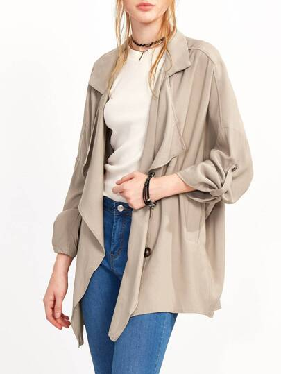 Khaki Lapel Button Rolled Sleeve Outerwear