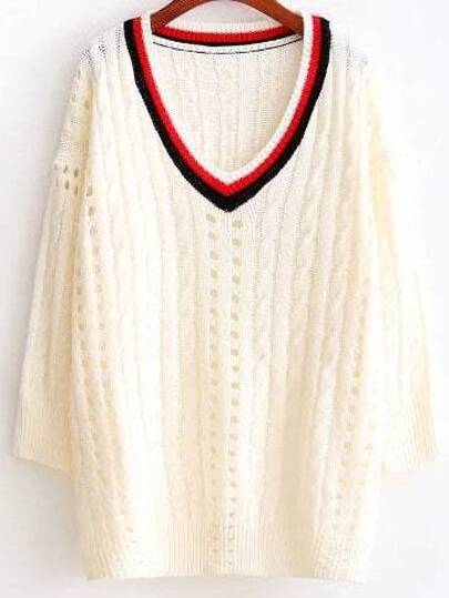 Beige Striped Neck Cable Knite Drop Shoulder Sweater