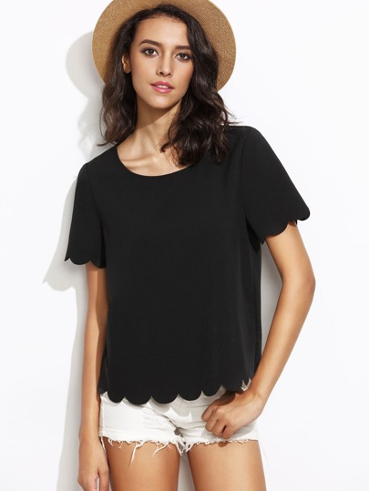 Black Scallop Hem Short Sleeve Top