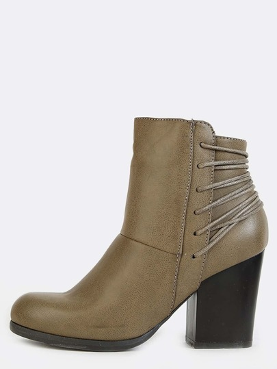 Wrapped Cord Chunky Heel Booties TAUPE