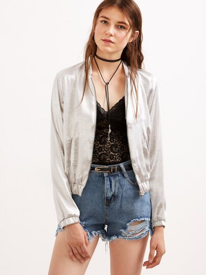 Silver Pockets Bomber Jacket