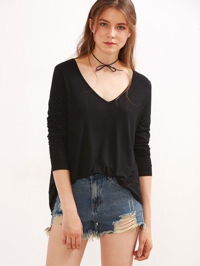 Black V Neck High Low T-shirt