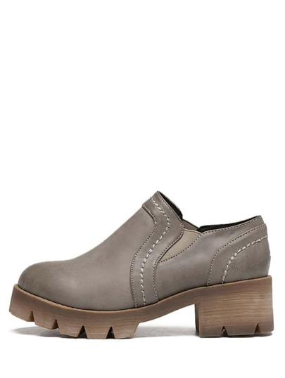 Schuhe Runde Zehen Gummi Sohle - grau