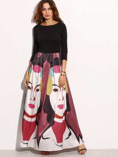 Multicolor Print Three Quarter Sleeve Skater Maxi Dress