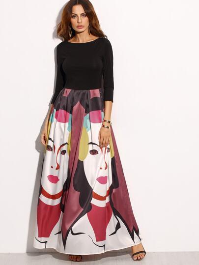 Vestido maxi manga 3/4 estampado - multicolor