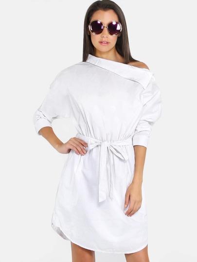 Shoulder Placket Collared Shirt Dress OFF WHITE