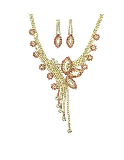 Pink Rhinestone Jewelry Set