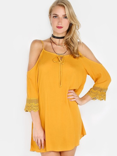 Cold Shoulder Crochet Crinkle Dress MUSTARD