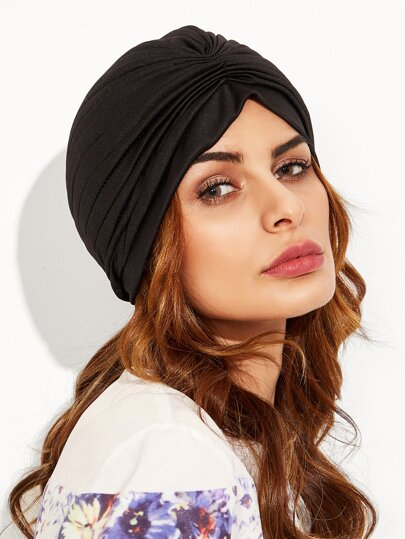 Black Pleated Turban Hat