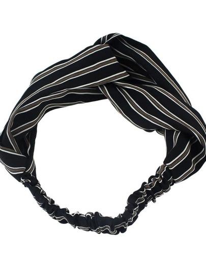 Black New Stripes Elastic Headband Accessories