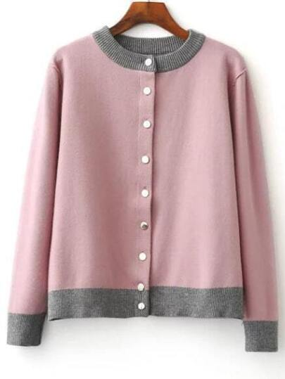 Pink Single Breasted Knitted Bomber Jacket