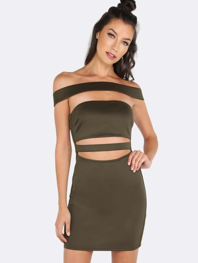 Off The Shoulder Cut Out Bandage Dress OLIVE